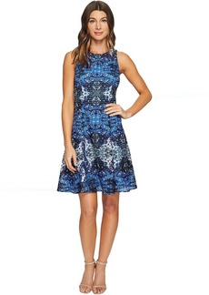 Maggy London Placed Flower Shield Printed Lace Fit and Flare Dress