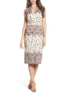 Maggy London Placed Print Sateen Sheath Dress (Regular & Petite)