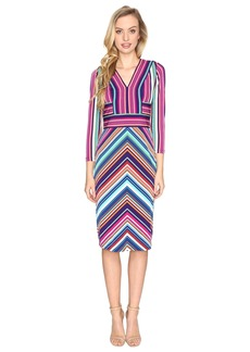 Maggy London Placed Stripe Long Sleeve Sheath Dress