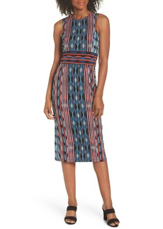 Maggy London Placed Stripe Midi Sheath Dress