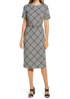 Maggy London Plaid Belted Knit Sheath Dress