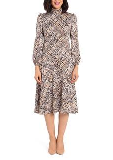 Maggy London Plaid Long Sleeve Midi Dress