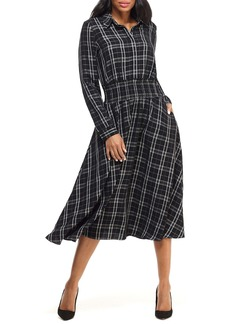 Maggy London Plaid Long Sleeve Shirtdress