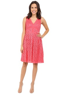 Maggy London Pleat Floral Lace Fit and Flare