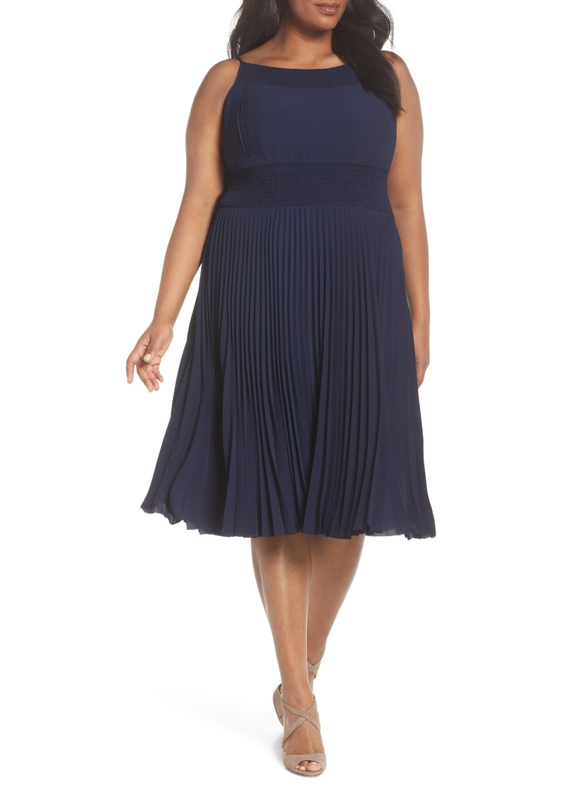 Maggy London Maggy London Pleated & Smocked Crepe A-Line Dress (Plus Size)    Dresses