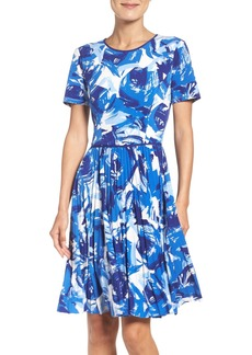 Maggy London Pleated Fit & Flare Dress