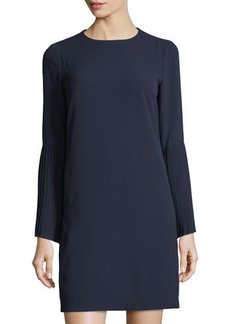 Maggy London Pleated-Sleeve Crepe Shift Dress