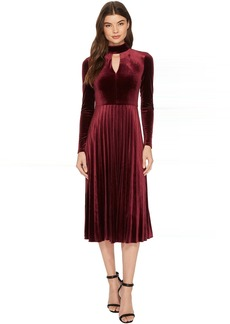 Maggy London Pleated Velvet Fit & Flare with Turtleneck Detail