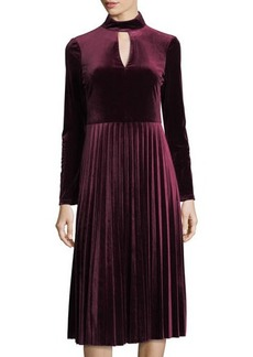 Maggy London Pleated Velvet Keyhole-Front Dress