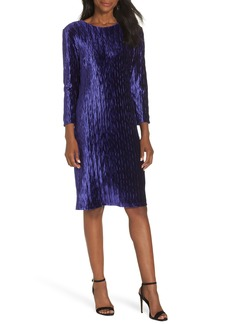 Maggy London Plissé Velvet Sheath Dress