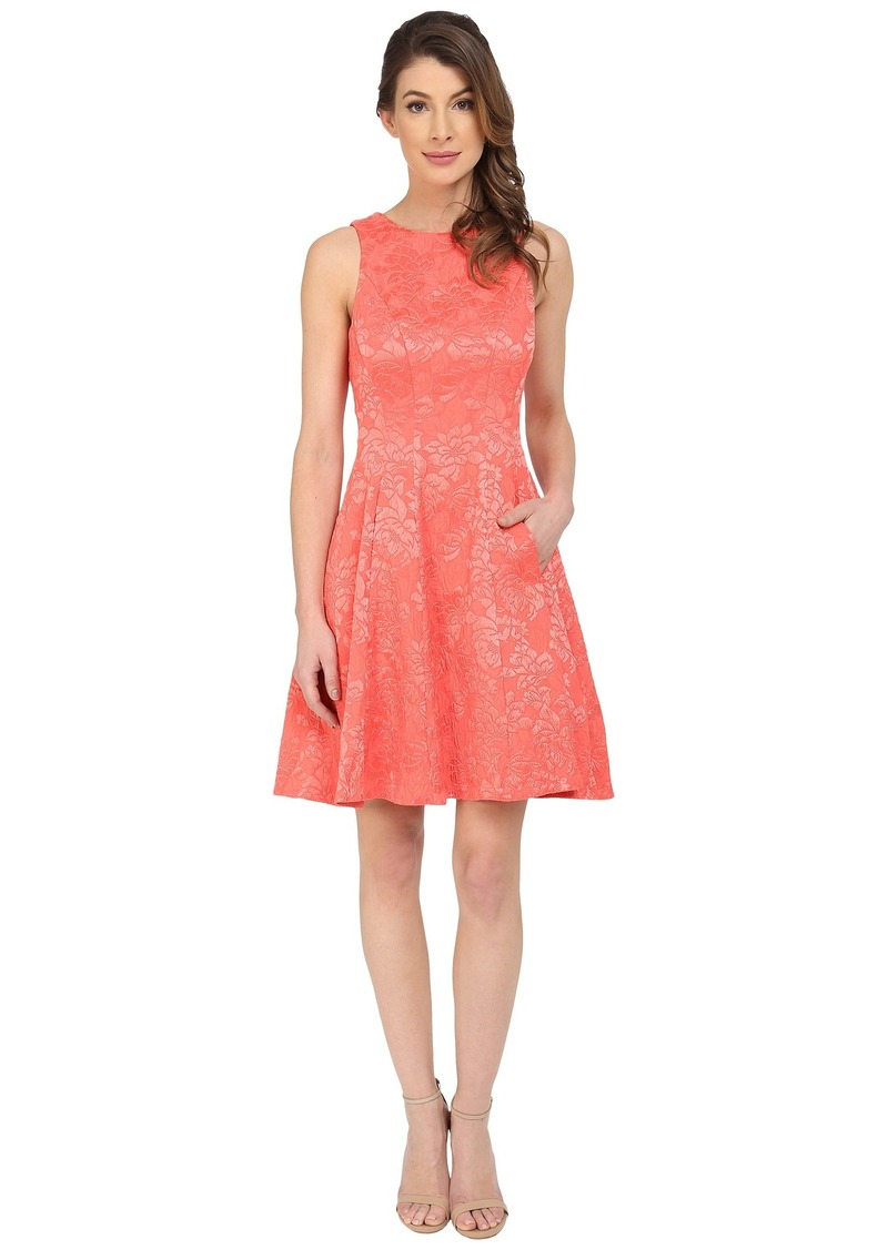 Maggy London Plisse Rose Fit and Flare Dress