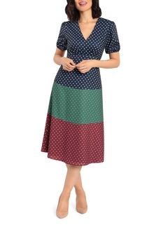 Maggy London Polka Dot Puff Sleeve Midi Dress