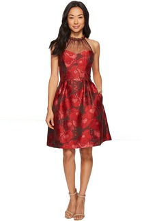 Maggy London Poppy Jacquard Halter Fit & Flare Dress