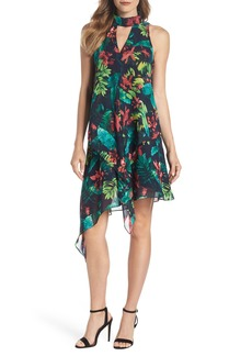 Maggy London Print Asymmetric Swing Dress