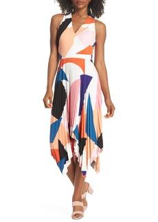 Maggy London Print Handkerchief Hem Midi Dress