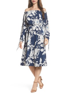 Maggy London Print Jersey Off the Shoulder Blouson Dress