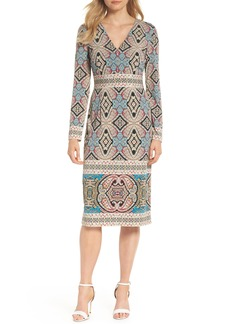Maggy London Print Matte Jersey Sheath Dress