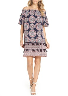 Maggy London Print Off the Shoulder Shift Dress