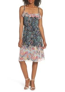 Maggy London Print Ruffle Chiffon Sheath Dress