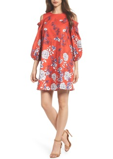 Maggy London Print Sateen Cold Shoulder Shift Dress