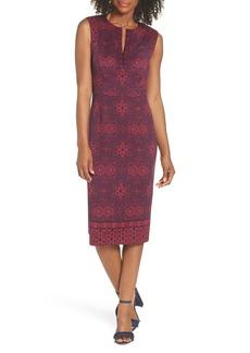 Maggy London Print Scuba Sheath Dress