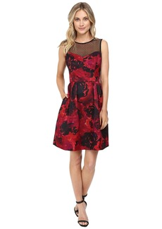 Maggy London Printed Floral Texture Fit and Flare