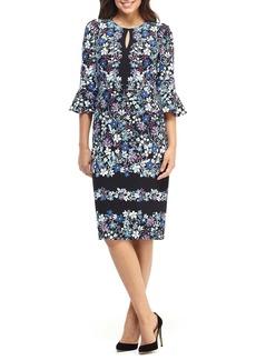 Maggy London Printed Ruffle Sleeve Dress