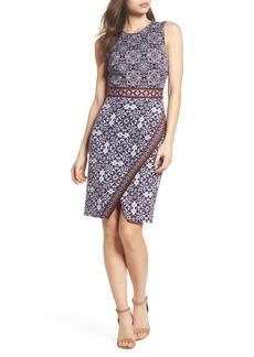 Maggy London Printed Scissor Front Sleeveless Dress (Regular & Petite)