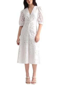 Maggy London Puff Sleeve Cotton Eyelet Midi Dress