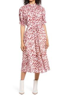 Maggy London Puff Sleeve Pleated Midi Dress
