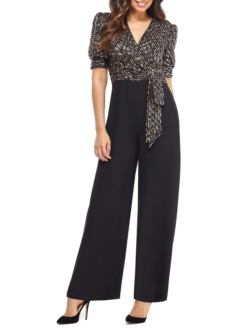 Maggy London Puffed Sleeve Sequin Wide Leg Jumpsuit