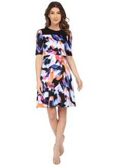 Maggy London Rainbow Fragment Printed Scuba Fit and Flare Dress