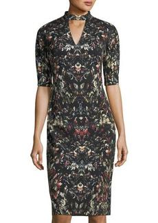 Maggy London Roll-Collar V-Neck Sheath Dress