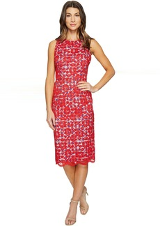Maggy London Rose Bloom Lace Sheath Dress with Gingham