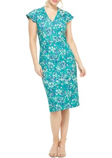 Maggy London Ruffle Sleeve Floral Scuba Sheath Dress