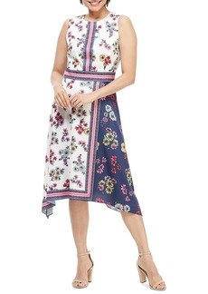 Maggy London Scarf Print Sleeveless Handkerchief Dress (Regular & Petite)