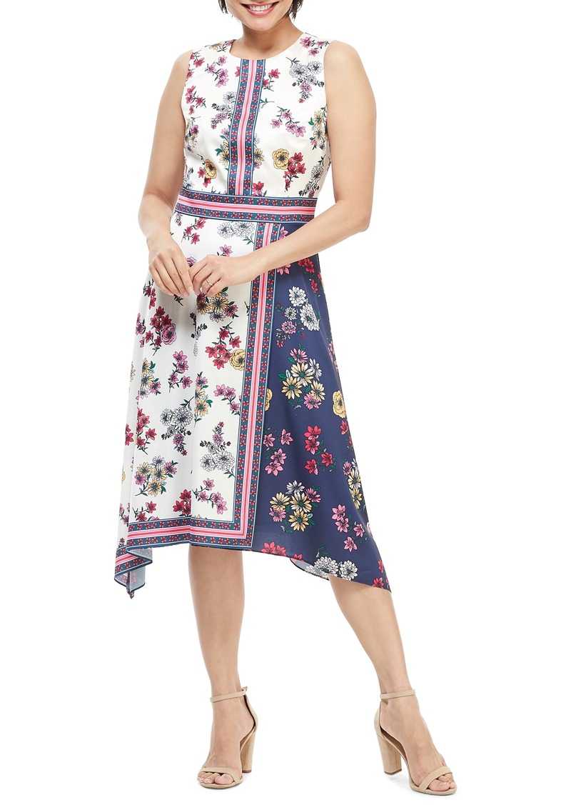Maggy London Scarf Print Sleeveless Handkerchief Dress (Regular & Petite)