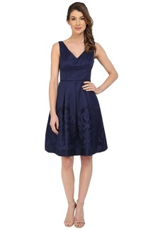 Maggy London Scroll Border Jacquard Fit and Flare Dress
