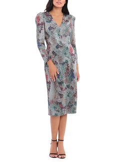 Maggy London Sequin Floral Long Sleeve Dress