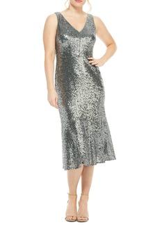 Maggy London Sequin Flounce Hem Cocktail Dress