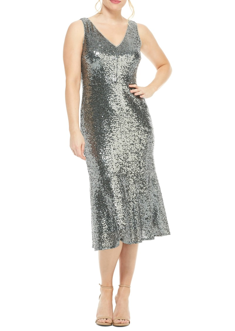 Maggy London Sequin Flounce Hem Cocktail Dress