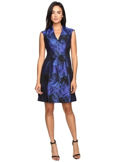 Maggy London Shadow Abstract Deep V-Neck Fit and Flare