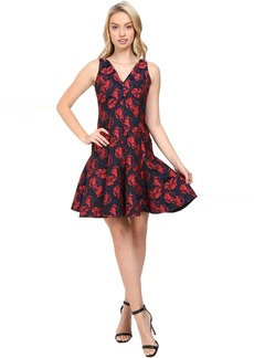 Shadow Floral Jacquard Deep V-Neck Fit and Flare Dress