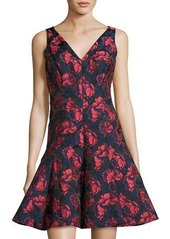 Maggy London Shadow Floral-Print V-Neck Dress
