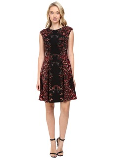 Maggy London Shadow Flower Pebble Texture Fit and Flare Dress