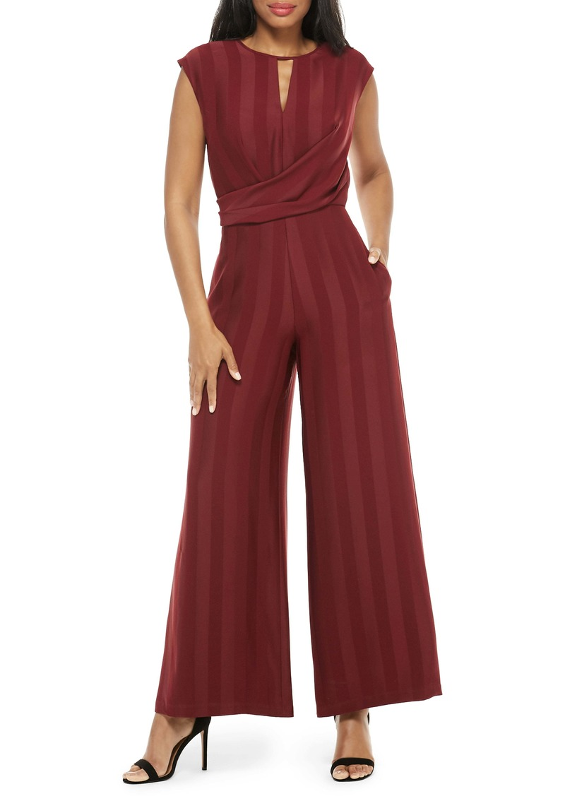 Maggy London Shadow Stripe Tie Back Jumpsuit