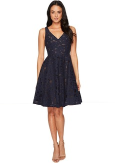 Maggy London Sheer Blossom Burnout Fit and Flare Dress