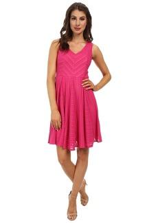 Maggy London Sheer Rib Stripe Fit & Flare Dress
