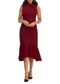 Maggy London Sleeveless Bow-Neck Flare Dress