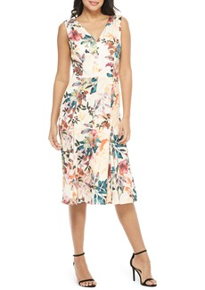 Maggy London Sleeveless Floral Print Charmeuse Dress